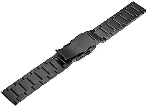 24mm Black Matte Wrist Bracelet Top Grain Stainless Steel Replacement Watch Band with Double Locks by SINAIKE (Image #4)