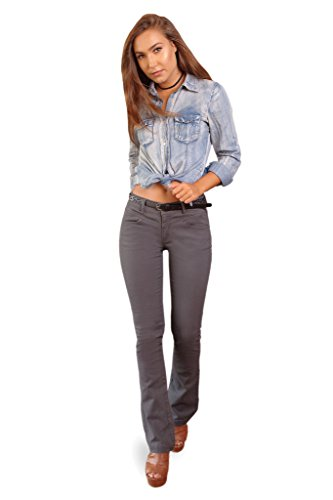 Be Bop Bebop Women's Bootcut Pant, Charcoal, Size 11, Stretch Cotton Twill, Removable (Cotton Work Belt)
