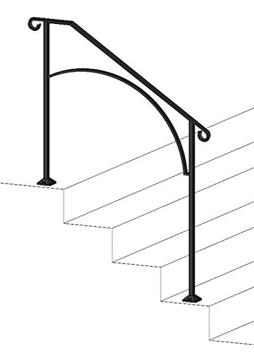 Stair Railing Post - Iron X Handrail Arch #3 (Wood or Composite Steps)
