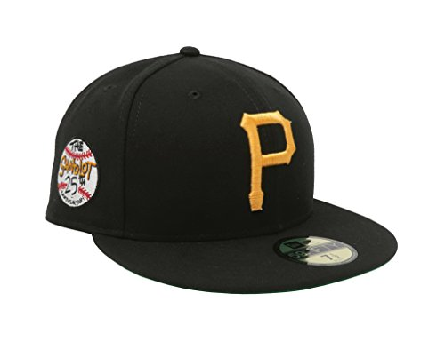 New Era Men's Hat Pittsburgh Pirates Sandlot 25th Anniversary 59Fifty Fitted Black Cap (7 (25th Anniversary Cap)