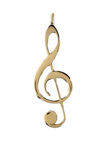 5″ Gold Brass Treble Clef Musical Music Christmas Ornament Decoration
