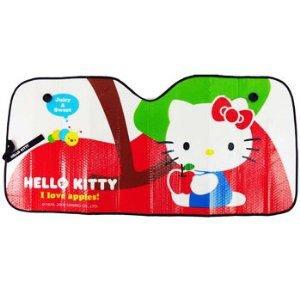 Aluminum Air Bubble Folding Sun Shade for Cars - Hello Kitty Loves Apple Charmy Kitty
