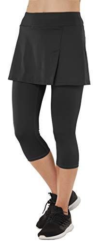 Womens Sport Skapri with Pockets Slit Side Skirt with Built-in Capri Legging Black02 M