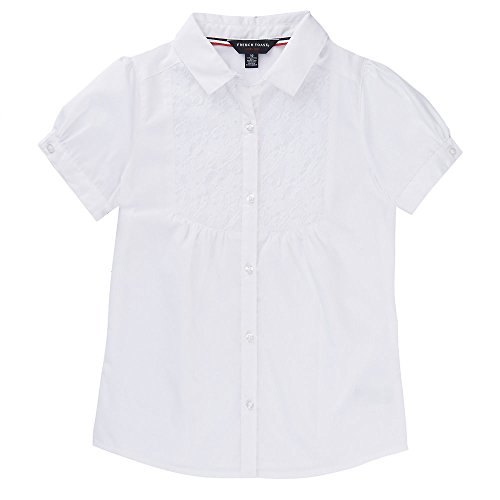 (French Toast Little Girls' Short Sleeve Bib-Front Lace Blouse, White, 4)