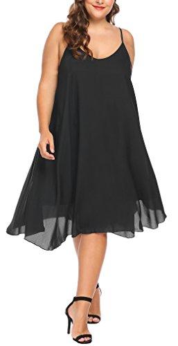 Womens Fashion Casual Chiffon Long Slip Maxi Dress (Black) - 9