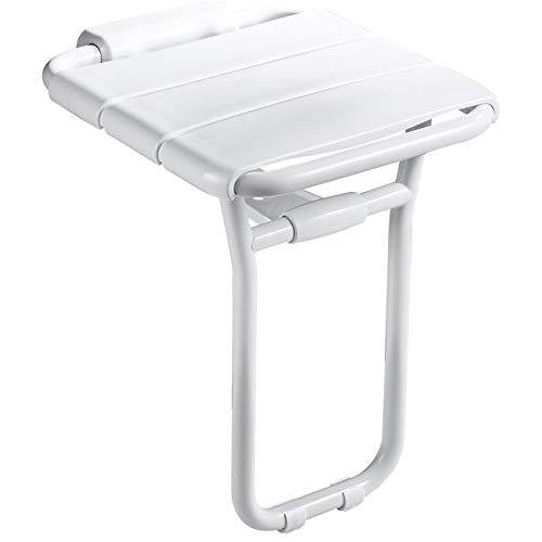 Shower Seats Steel Stainless (Toilet handrail Shower Stool, Stainless Steel Folding Shower Seat Barrier Bath Stool Elderly Disabled Pregnant Women (White))