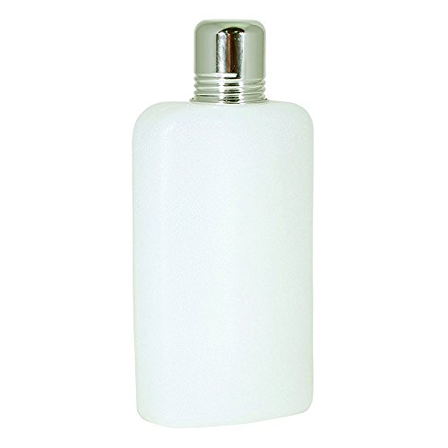 10 Ounce, White Colored Plastic Travel Flask with Chrome Top Cup (Flask Travel Plastic)