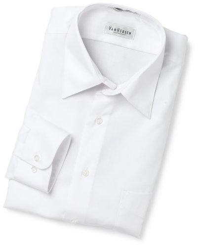 Van Heusen Men's Wrinkle Free Lux Sateen Long Sleeve Shirt,White,17.5 34/35