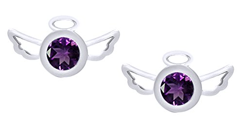 Christmas Sale Round Cut Simulated Amethyst Angel Wings Stud Earrings In 14k White Gold Over Sterling Silver