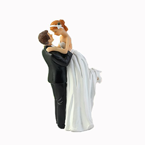 WeddingDepot Funny Bride and Groom Decorative Wedding Cake Toppers - Cake Topper Figurines, Keepsake Wedding Cake Decorations in Unique Pose (Happy Bride and Groom)