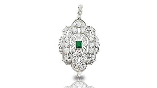 Adastra Jewelry 925 Sterling Silver Green Emerald cz White Round Art Deco Style Pendant