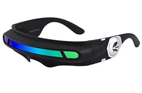 Futuristic Space Alien Costume Party Cyclops Shield Colored Mirror Mono Lens Wrap Sunglasses 137mm (Green Mirror, - Cyclop Sunglasses