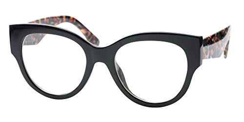 SOOLALA Ladies Modern Fashion Prescription Eyeglass Frame Cat Eye Reading Glass, Oils, ()