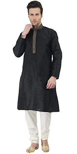 SKAVIJ Men's Tunic Art Silk Kurta Pajama Set Party Dress (Large, Black)