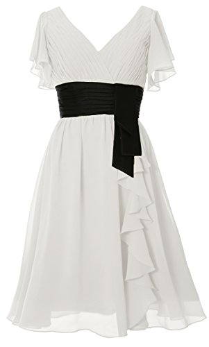 MACloth Elfenbein Mother Gown Cocktail Dress V Neck of Elegant Short Sleeve Bride Formal rqwrgO