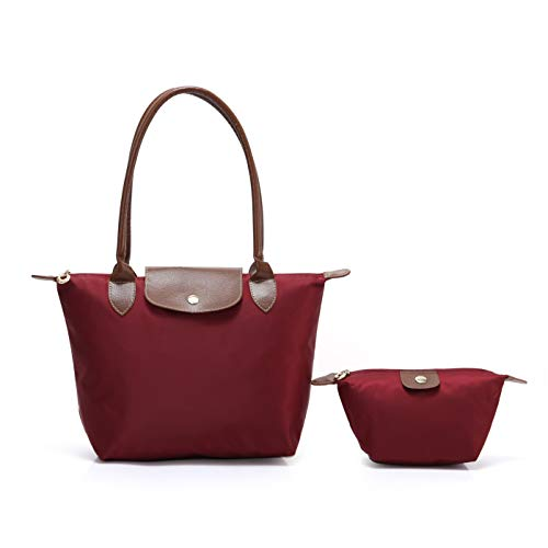 2 pcs Women's Stylish Waterproof Tote Bag Nylon Travel Shoulder Handbag (Jujube red;Small)