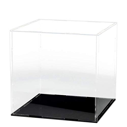Lanscoe Clear Acrylic Display Case Countertop Box Cube Organizer Stand Dustproof Protection Showcase for Action Figures/Toys/Collectibles (10x10x10 Inch, 25x25x25 cm)