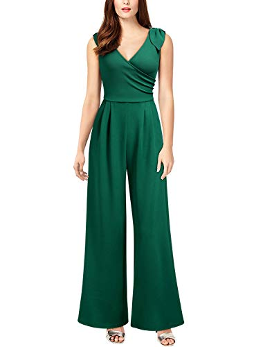 (Knitee Women's V-Neck Sleeveless High Waist Long Pants Wide Leg Jumpsuit Rompers,Small,Dark Green)