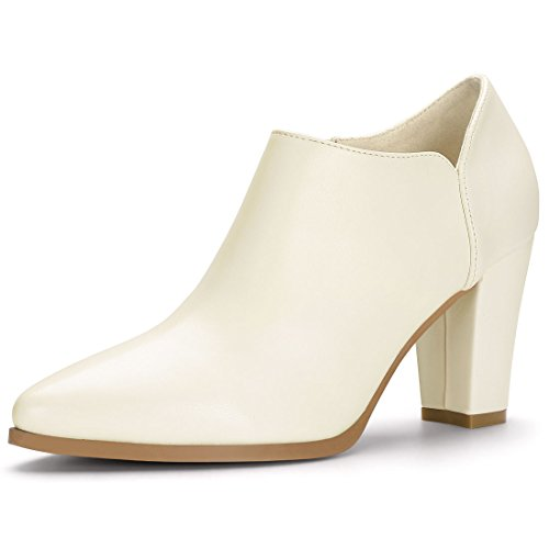 Ivory Booties - Allegra K Women's Chirstmas Pointed Toe Block Heels Ivory Ankle Booties - 10 M US