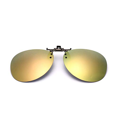 GAMT Clip-on Flip up Sunglasses Over Reading Glasses Color Polarized Invisible Transparent Clip Sunglasses Lenses Gold