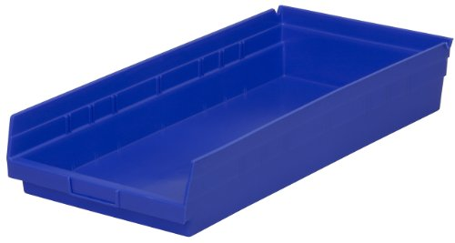 Akro-Mils 30174 24-Inch by 11-Inch by 4-Inch Plastic Nesting Shelf Bin Box, Blue, Case of 6 -