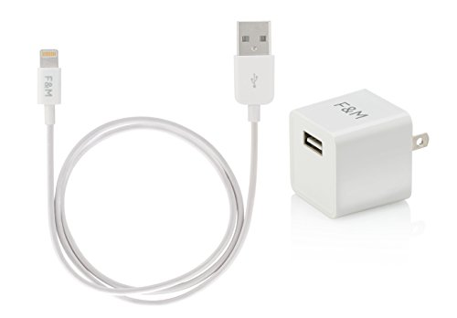 Francois et Mimi, Apple MFI Certified Lightning 2.4A 12W Wall Charger with 2 Foot Long Lightning USB Cable for...