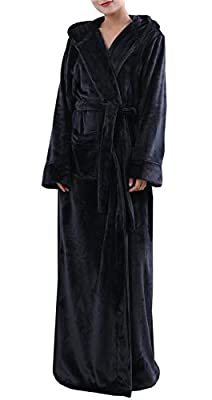 Ameyda Women's Long Bathrobe Hoodie Fleece Robe