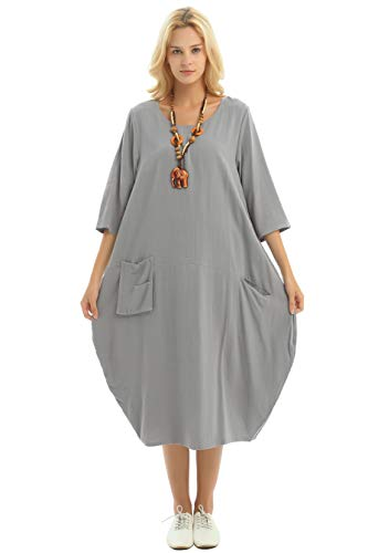 (Anysize Soft Linen Cotton Lantern Loose Dress Spring Summer Fall Plus Size Clothing Y19 Light Gray)