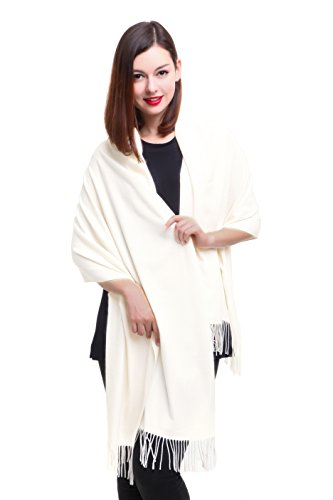 REEMONDE Womens Super Soft Long Shawl Solid Colors Warm Pashmina Big Scarf (Cream)