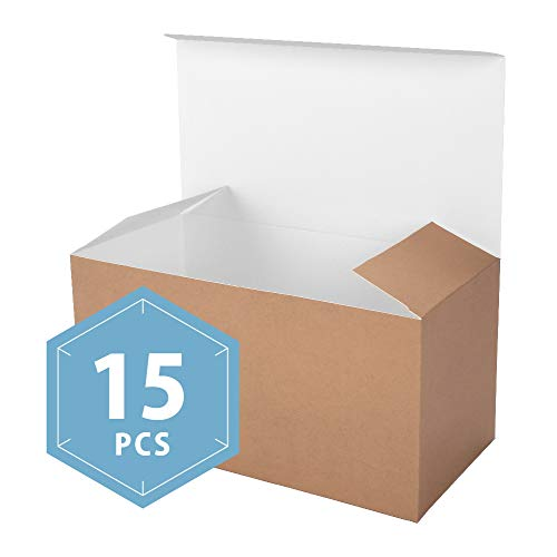 PACKHOME Kraft Gift Boxes with Lids 15 Pcs 9x4.5x4.5 Paper Gift Box for Wedding,Gift,Party,Recycled Paper