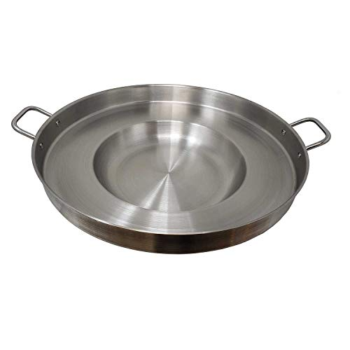 """Heavy Duty Concave Comal Stainless Steel Acero Inoxidable Outdoors Cazo Griddle Fryer Chicharron Deep Frying Bowl Cookware for Stir Fry-Home Restaurant Professional Commercial Use For Carnitas Panza Abajo Paella Para Tacos-22"""""""