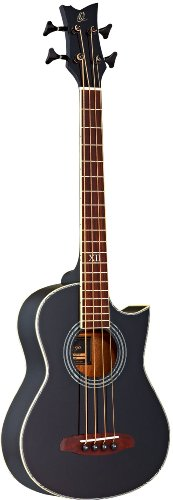 Ortega Guitars D-WALKER-BK Deep Series Extra Short Scale Acoustic Bass with Agathis Top and Body