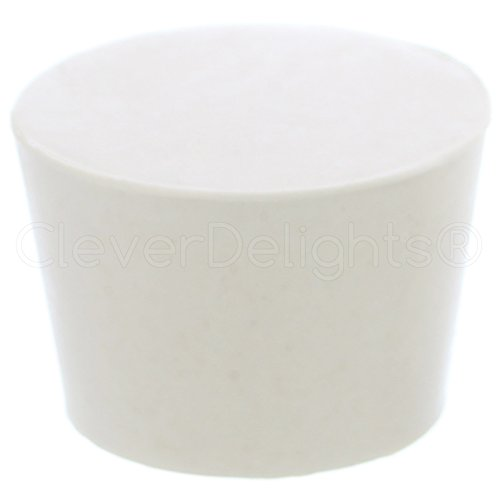 1 Pack - CleverDelights Solid Rubber Stoppers - Size 9 - 45mm x 37mm - 30mm Long - White Lab Plug #9