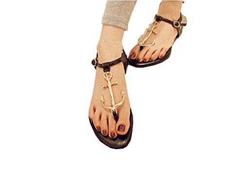 2014 neue Sommerschuhe Frau Sandalen für Frauen Wohnungen Fashion Hausschuhe Wedges Sandale Casual Mädchen Metallschließe Anhänger T Korsar Schwarz