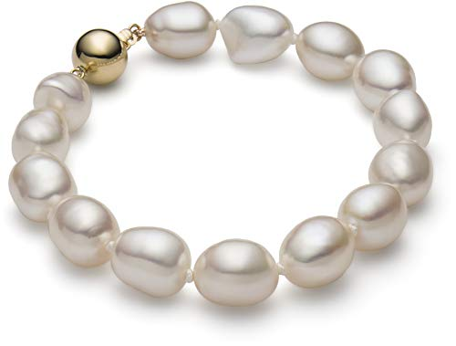 HinsonGayle AAA GEM 10-11mm White Baroque Freshwater Cultured Pearl Bracelet (14K Yellow Gold 7.5 inch)-7.5 in ()