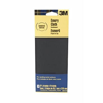 3M Assorted Grit Emery Cloth Sandpaper, 3.67-Inch by 9-Inch, 3-Pack from 3M CHIMD