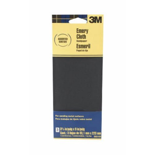 3M Assorted Grit Emery Cloth Sandpaper, 3.67-Inch by 9-Inch, 3-Pack - 5931