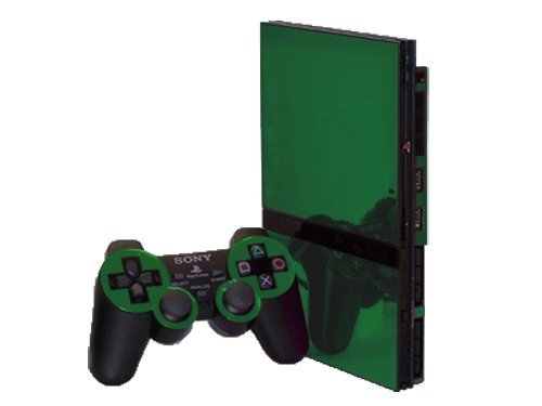 (Sony PlayStation 2 Slim (PS2 Slim) Skin - NEW - GREEN CHROME MIRROR system skins faceplate decal mod )