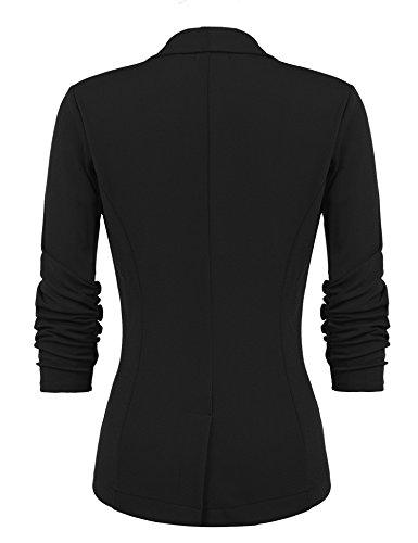 Beyove Women's 3/4 Sleeve Blazer Open Front Cardigan Jacket Work Office Blazer Black S by Beyove (Image #4)
