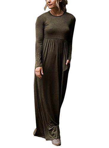 Dearlovers Women Long Sleeve High Waisted Maxi Tunic Dress Small Size Army Green