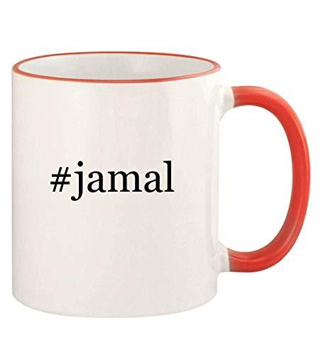 #jamal - 11oz Hashtag Colored Rim and Handle Coffee Mug, Red