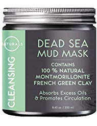 O Naturals Dead Sea Mud Mask with French Green Clay 100% Natural Vegan Cleansing Face & Body Mask. Exfoliating, Absorbing Excess Oils, Reducing Acne, Promoting Circulation & Tightening Pores. 8.45 oz.