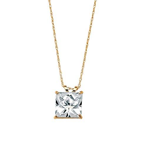 Princess-Cut White Cubic Zirconia 10k Yellow Gold Solitaire Pendant Necklace 18