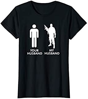 Birthday Gift Womens Your Husband vs My Husband Army Wife  Short and Long Sleeve Shirt/Hoodie