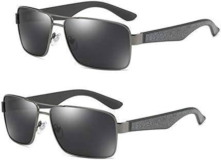 LVYY Männer polarisierte Sonnenbrille fährt, Sonnenschutz-Gläser, Persönlichkeit Mode-Geschäfts-Art 2 Paare (Color : Gun/Black)