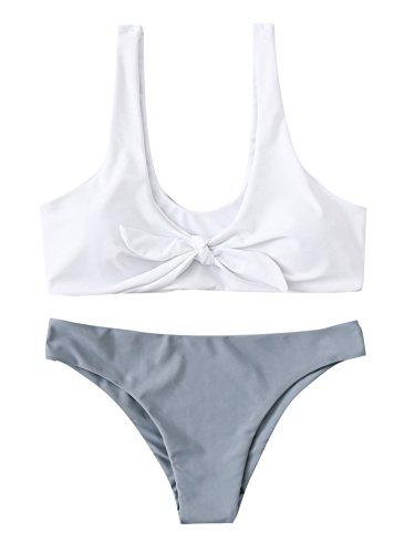 SweatyRocks Women's Sexy Bikini Swimsuit Soild Color Tie Knot Front Swimwear Set Grey L