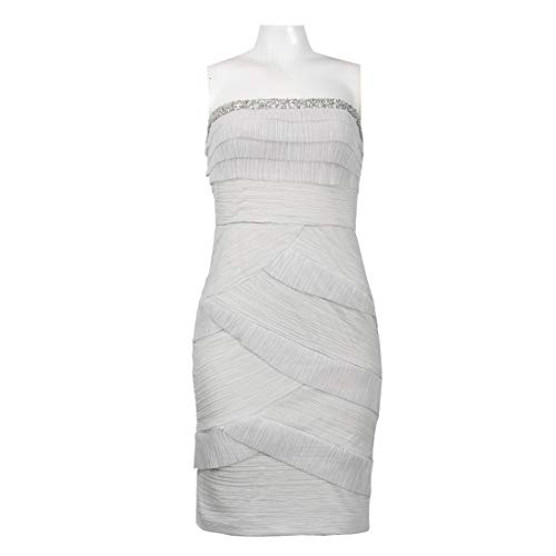 JS Collections Strapless Beaded Hem Shutter Pleat Jersey Dress, Myst, 16