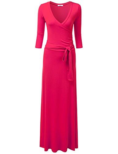 NINEXIS Women's V-Neck 3/4 Sleeve Crossover Maxi Dress with Fabric Belt Fuchsia S