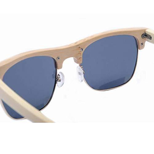 Gafas Brillante Polarizadas Color Personalidad de Brown bambú Gafas Hombre Mujer sol Color UV de Protección Gafas La Color Moda Azul Y 1X8f6wqx