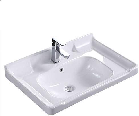 Minmin 洗面化粧台の家の装飾小さなアパートのセラミックシンプルな半組み込み洗面台バルコニー洗濯プールバスルーム洗面150x370x250mmに 芸術流域 (Color : A)